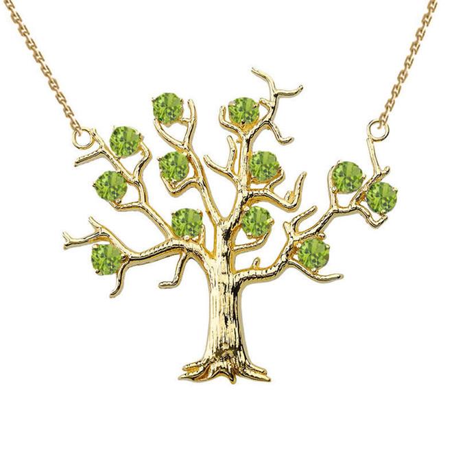 14K Yellow Gold Peridot (LCP) Tree Necklace