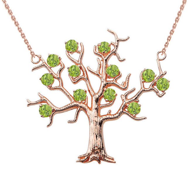 14K Rose Gold Peridot (LCP) Tree Necklace