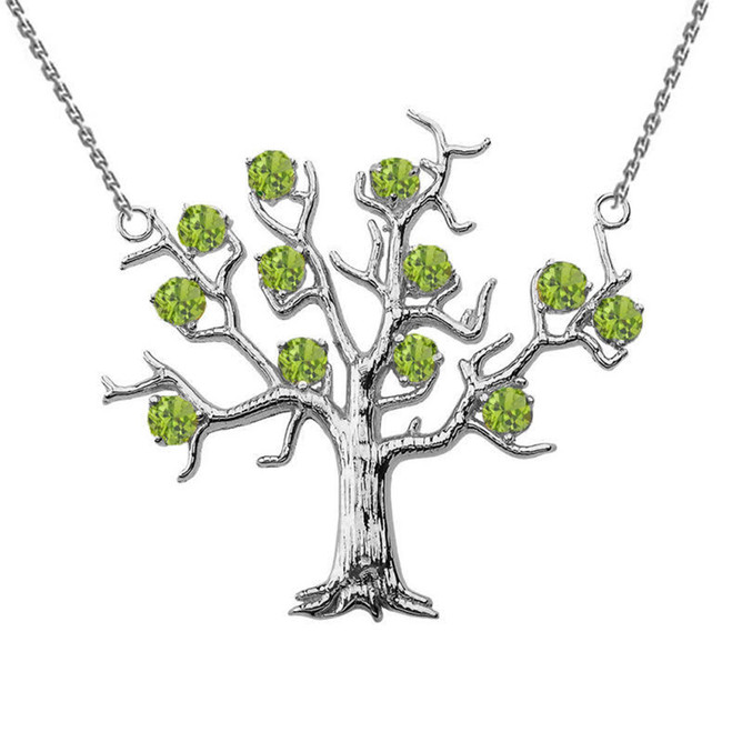 14K White Gold Peridot (LCP) Tree Necklace