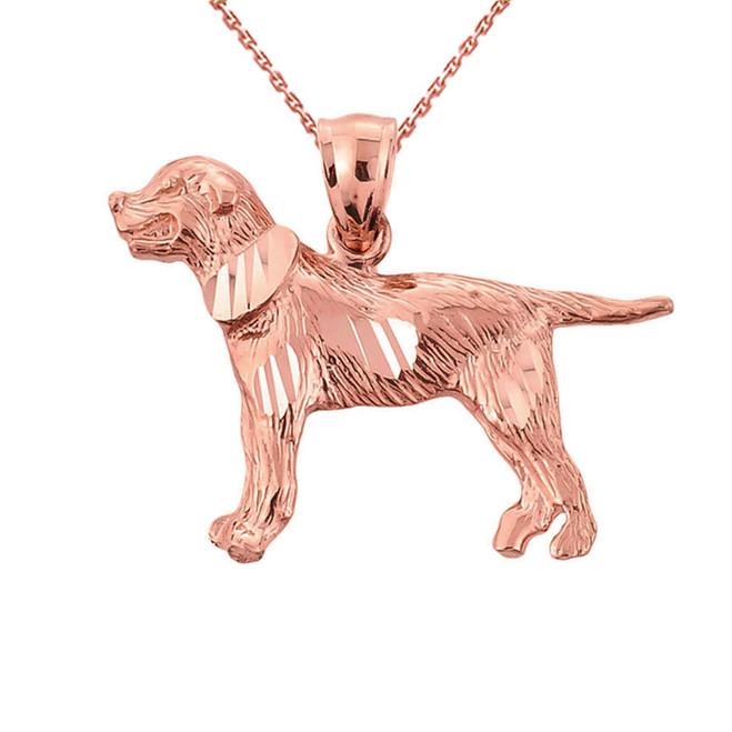 Rose Gold Diamond Cut Greater Swiss Mountain Dog Pendant Necklace