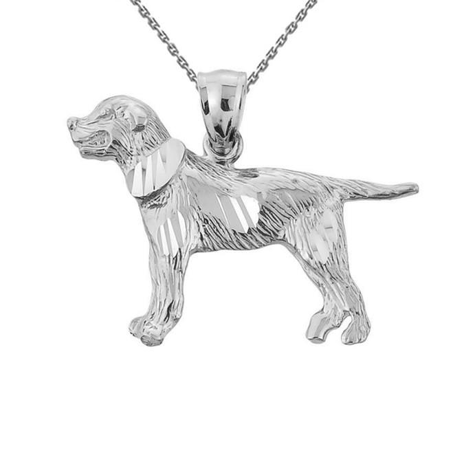 White Gold Diamond Cut Greater Swiss Mountain Dog Pendant Necklace