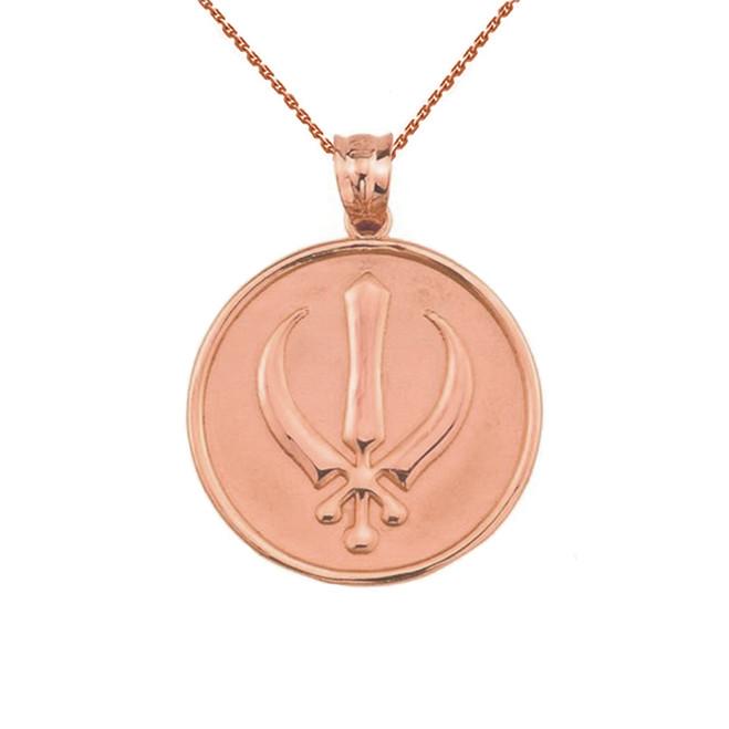 Solid Rose Gold Sikh Charm Pendant