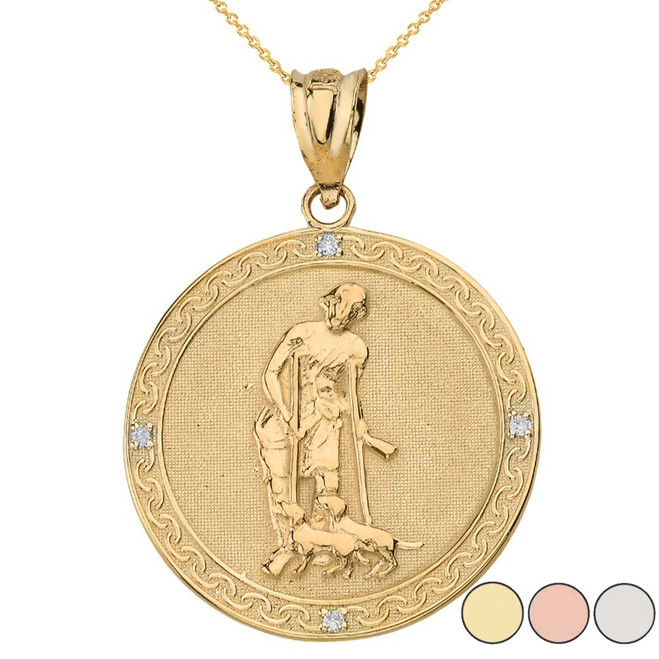 Saint Lazarus Engravable Circle Medallion Diamond Pendant Necklace (Large) in Solid Gold (Yellow/Rose/White)