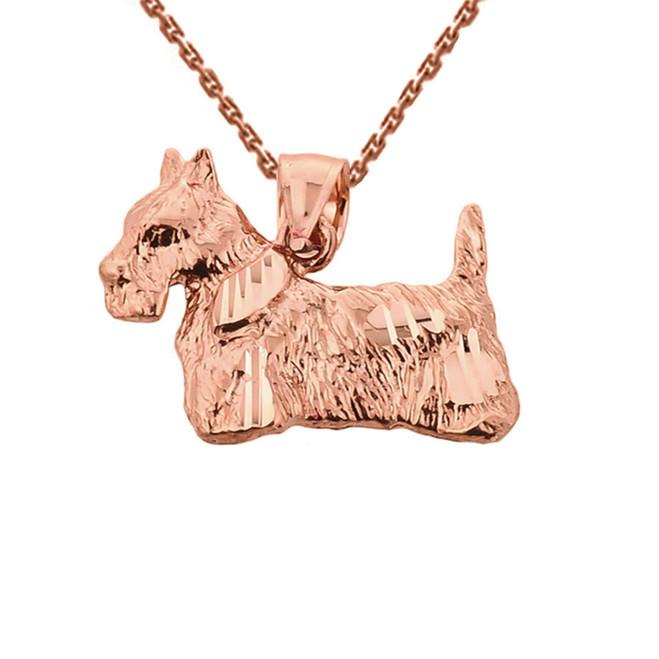 Solid Rose Gold Diamond Cut Scottish Terrier Pendant