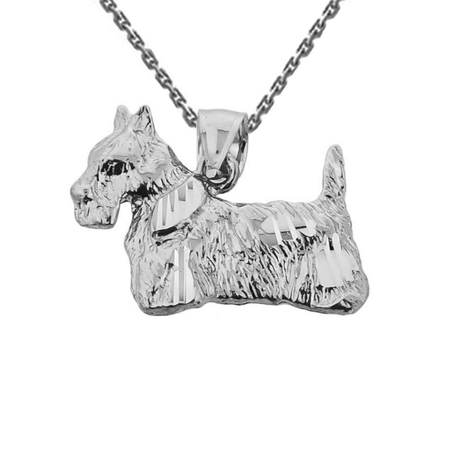 Solid White Gold Diamond Cut Scottish Terrier Pendant