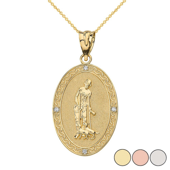 Saint Lazarus Engravable Oval Medallion Diamond Pendant Necklace (Small)  in Solid Gold (Yellow/Rose/White)
