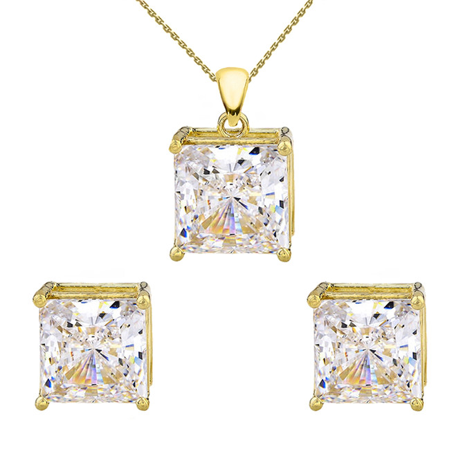 Yellow Gold Elegant Princess Cut Necklace and Stud Earrings Set