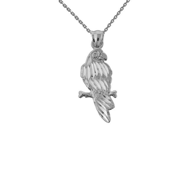 Solid White Gold Diamond Cut Parakeet Pendant