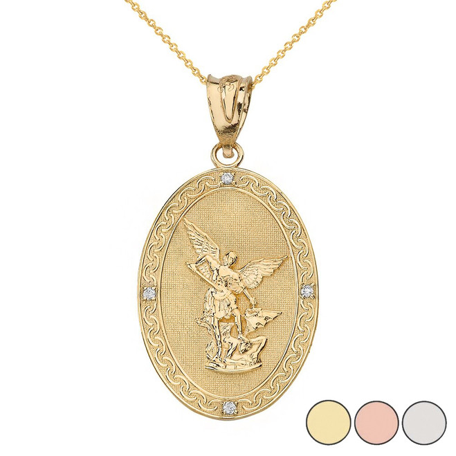 Archangel Michael Oval Medallion Diamond Prayer Pendant Necklace (Small) in Solid Gold (Yellow/Rose/White)