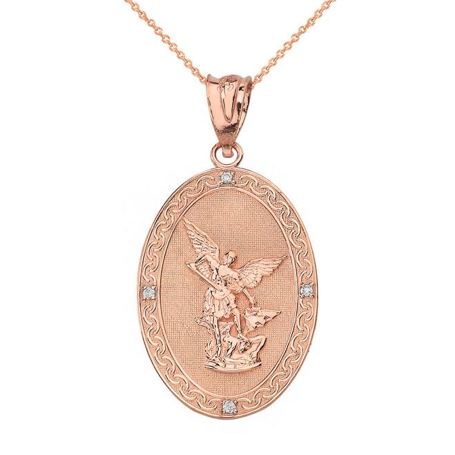 Solid Rose Gold Archangel Michael Oval Medallion Diamond Prayer Pendant Necklace (Small)