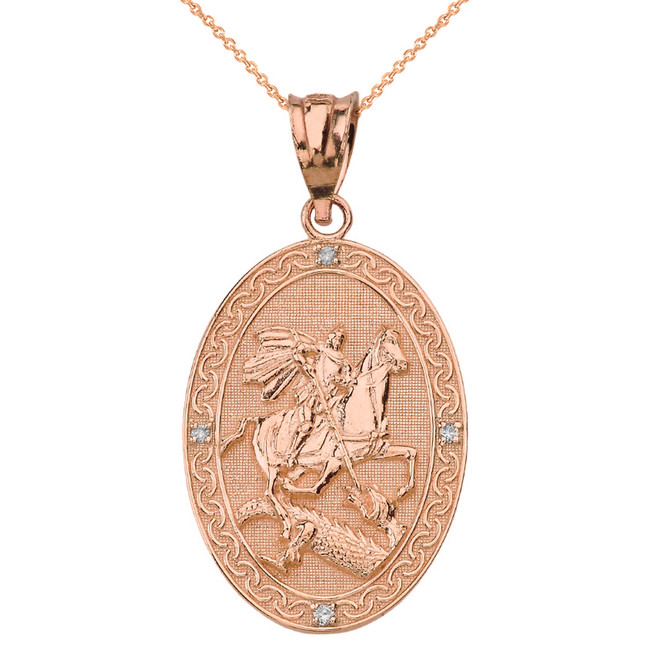 Solid Rose Gold Saint George and the Dragon Oval Engravable Medallion Diamond Prayer Pendant Necklace (Large)
