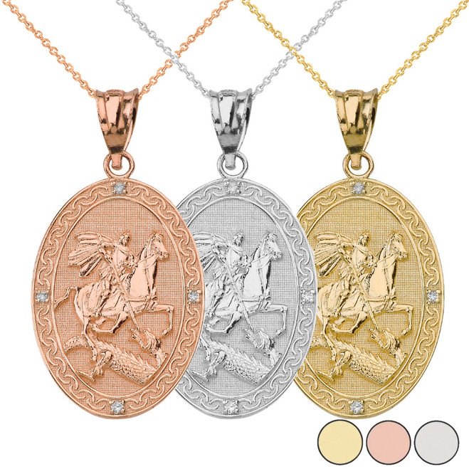 Saint George and the Dragon Oval Engravable Medallion Diamond Prayer Pendant Necklace (Small) in Solid Gold