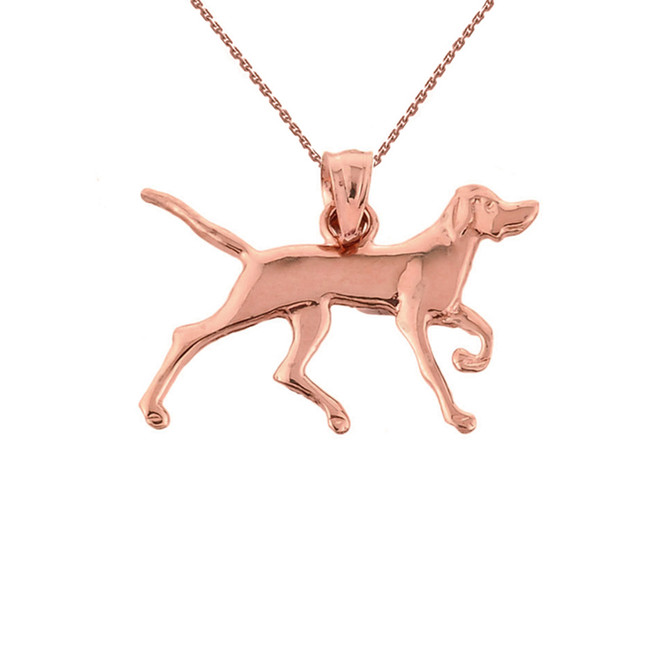 Solid Rose Gold German Short-Haired Pointer Pendant