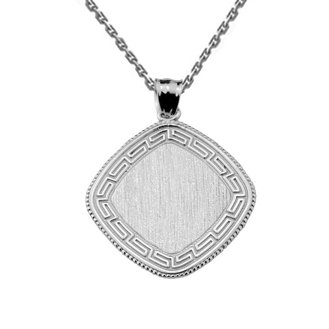Greek Key White Gold Engravable Charm Pendant