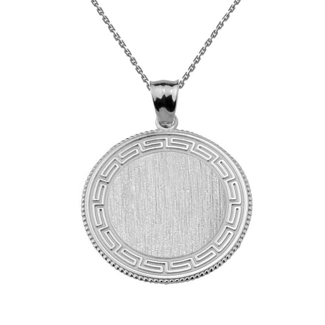 Greek Key White Gold Engravable Round Pendant