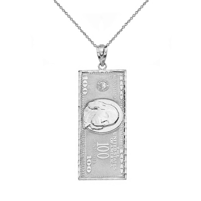 Solid White Gold Benjamin Franklin United States American Hundred Dollar Bill  Pendant Necklace (Small)