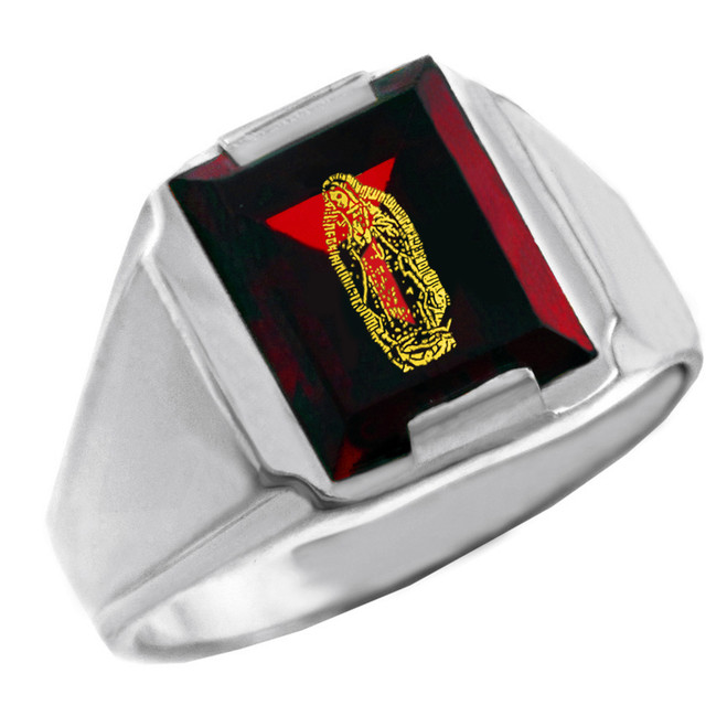 Solid White Gold Red CZ Stone Our Lady of Guadalupe Signet Men's Ring