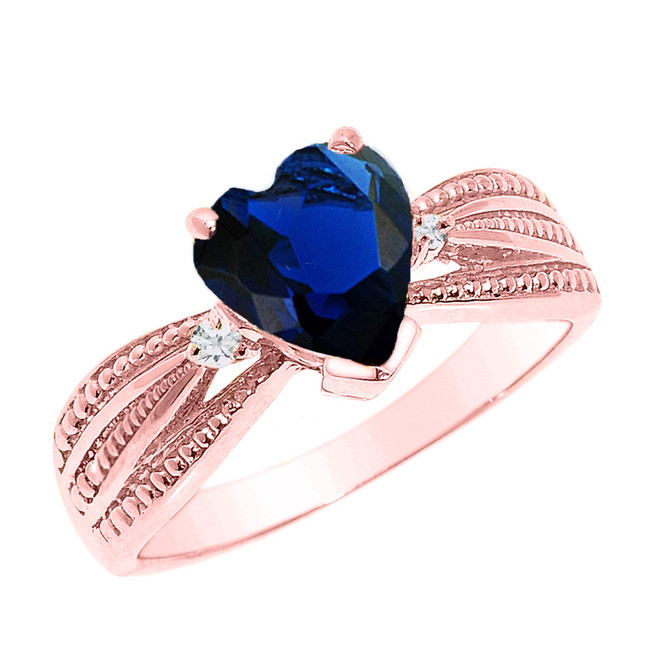 Beautiful Rose Gold Sapphire (LCS) and Diamond Proposal Ring