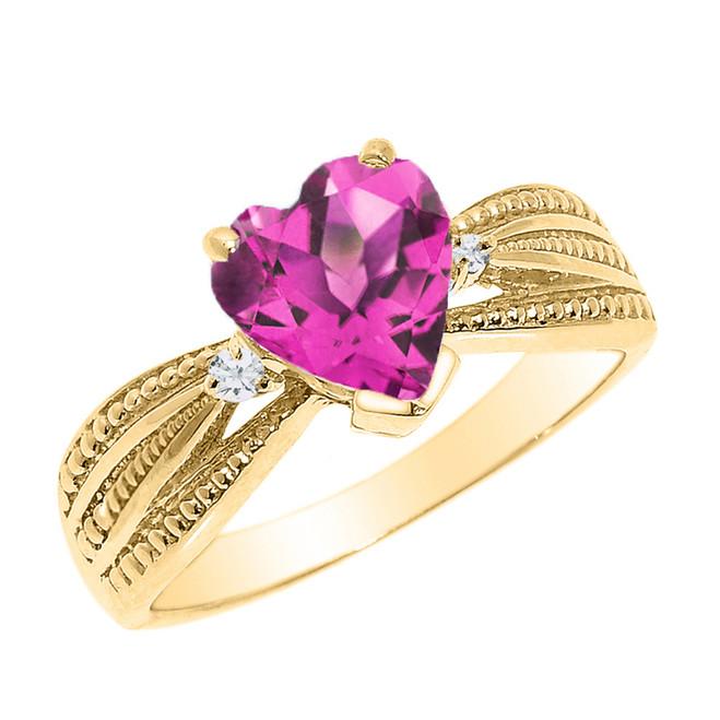 Beautiful Yellow Gold Alexandrite (LCAL) and Diamond Proposal Ring
