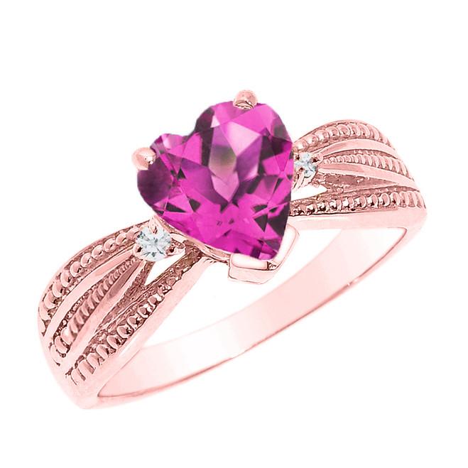 Beautiful Rose Gold Alexandrite (LCAL) and Diamond Proposal Ring