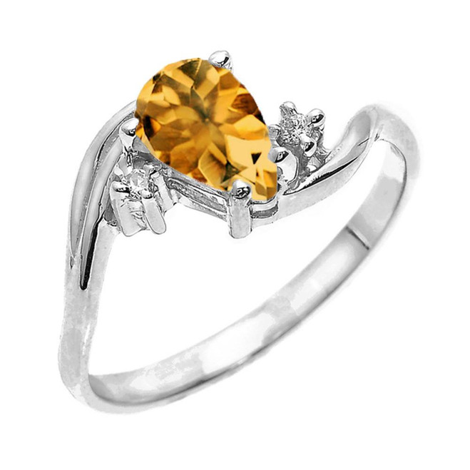 White Gold Pear Shaped Citrine and Diamond Proposal Ring
