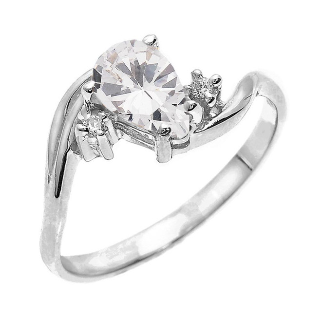 White Gold Pear Shaped CZ and Diamond Proposal Ring