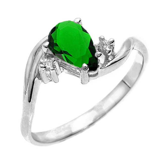 White Gold Pear Shaped Emerald (LCE) and Diamond Proposal Ring