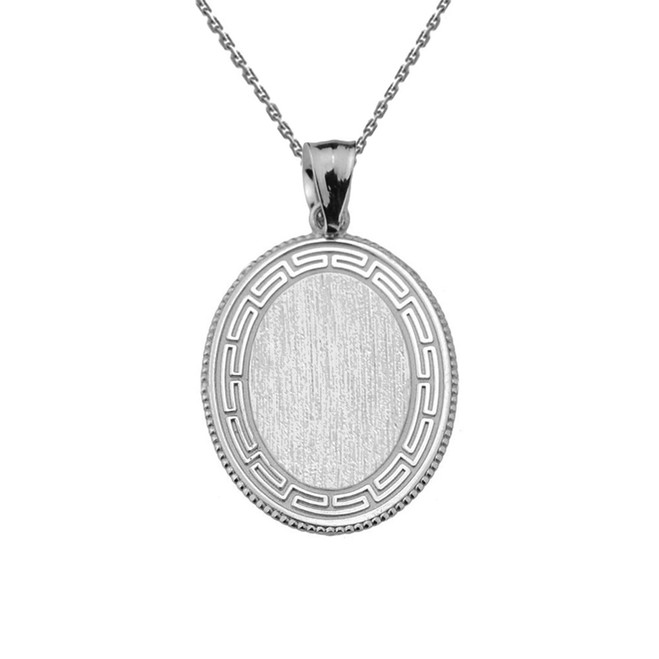 Greek Key White Gold Engravable Oval Pendant