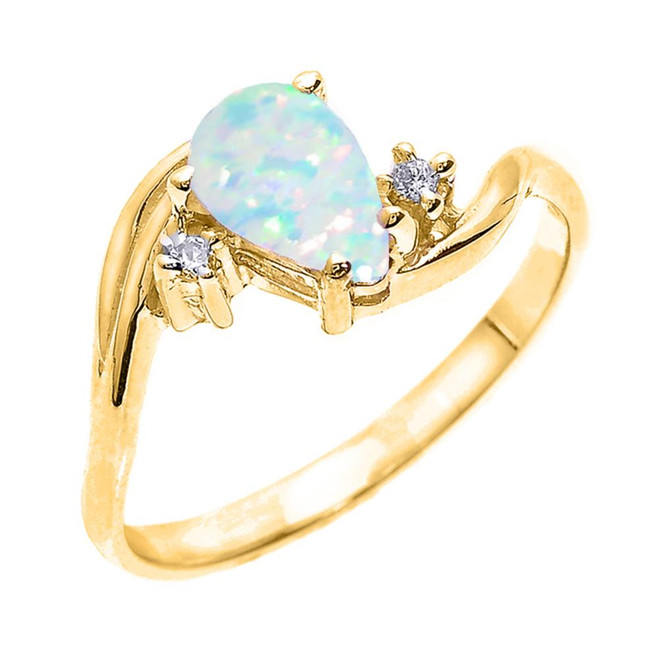 Yellow Gold Pear Shaped Opal (LCO) and Diamond Proposal Ring