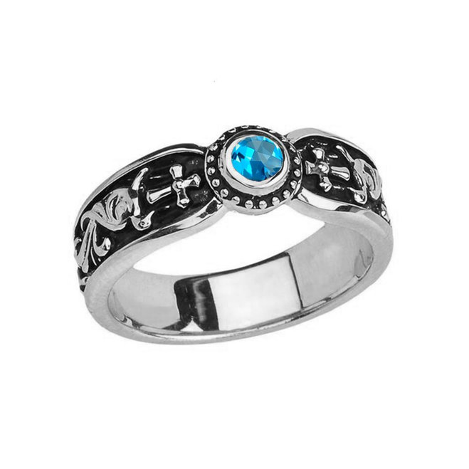 White Gold Blue Topaz Side Way Cross Vintage Solitaire Wedding Band/Ring