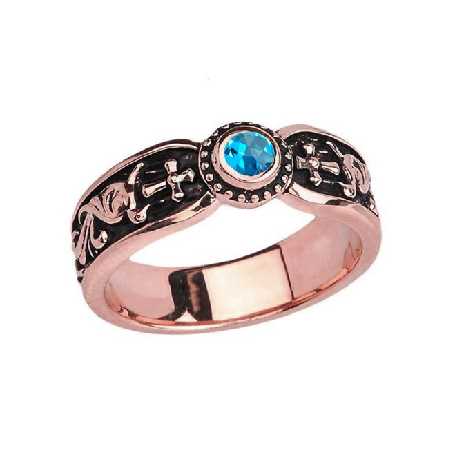 Rose Gold Blue Topaz Side Way Cross Vintage Solitaire Wedding Band/Ring