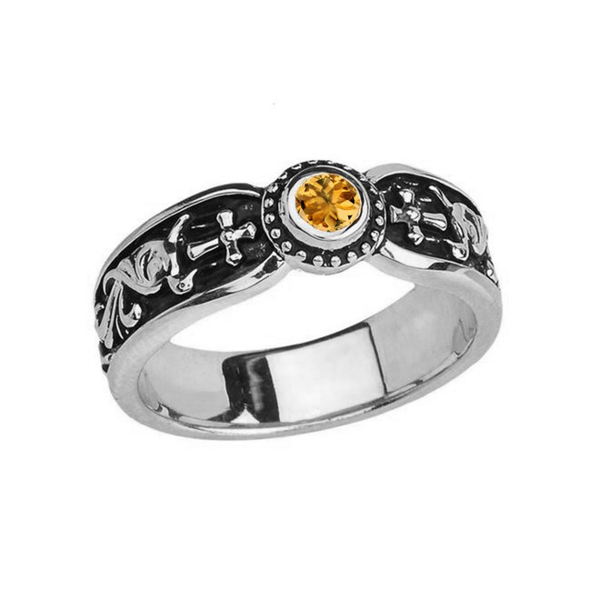 White Gold Citrine Side Way Cross Vintage Solitaire Wedding Band/Ring