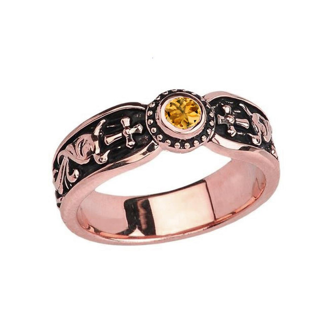 Rose Gold Citrine Side Way Cross Vintage Solitaire Wedding Band/Ring