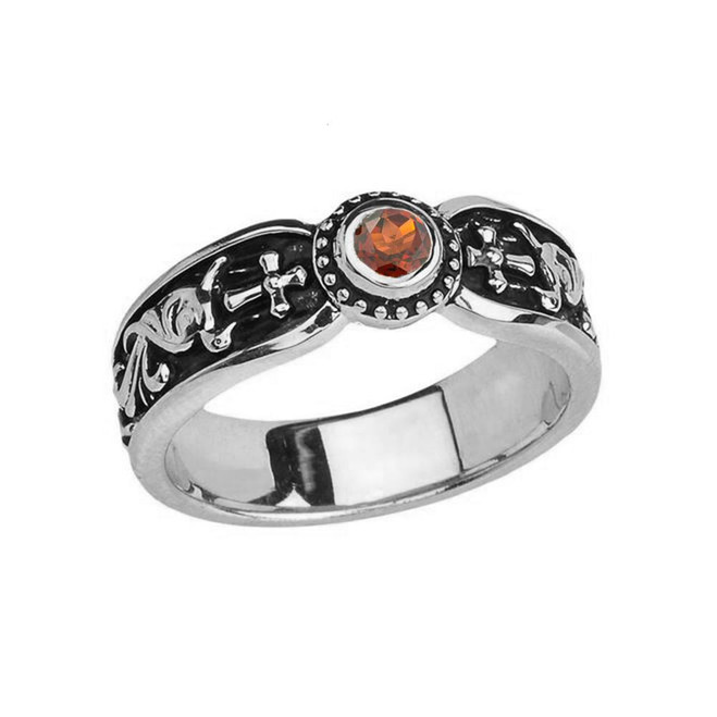 White Gold Garnet Side Way Cross Vintage Solitaire Wedding Band/Ring