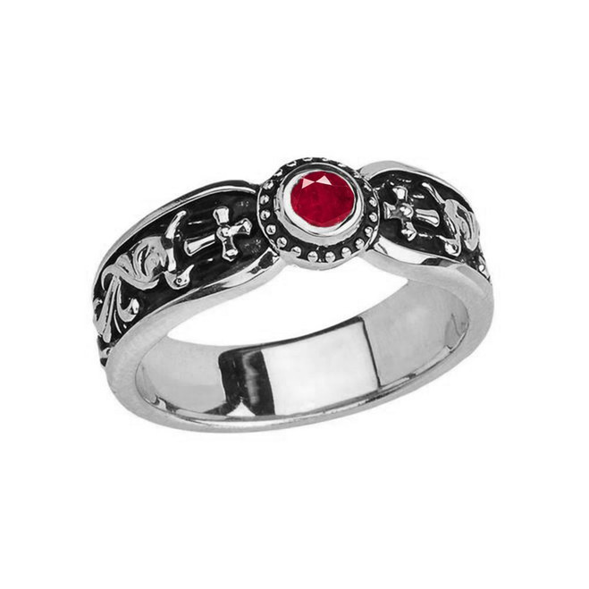 White Gold Ruby (LCR) Side Way Cross Vintage Solitaire Wedding Band/Ring