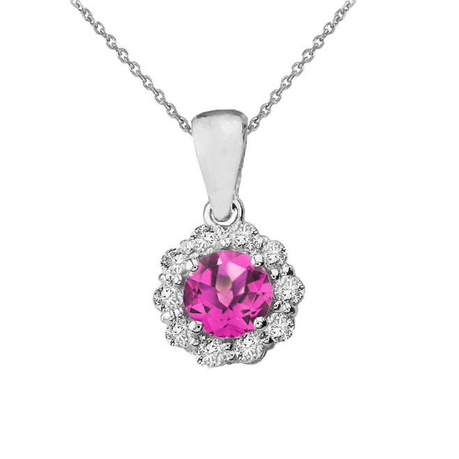 14k White Gold Dainty Floral Diamond Center Stone Alexandrite (LCAL) Pendant Necklace
