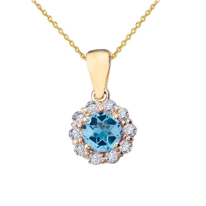 14k Yellow Gold Dainty Floral Diamond Center Stone Blue Topaz Pendant Necklace