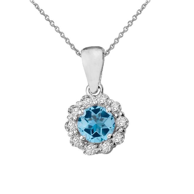 14k White Gold Dainty Floral Diamond Center Stone Blue Topaz Pendant Necklace