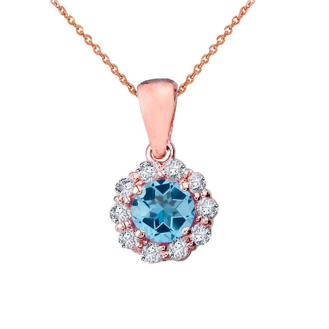14k Rose Gold Dainty Floral Diamond Center Stone Blue Topaz Pendant Necklace