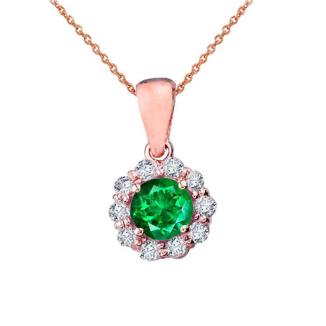 14k Rose Gold Dainty Floral Diamond Center Stone Emerald Pendant Necklace