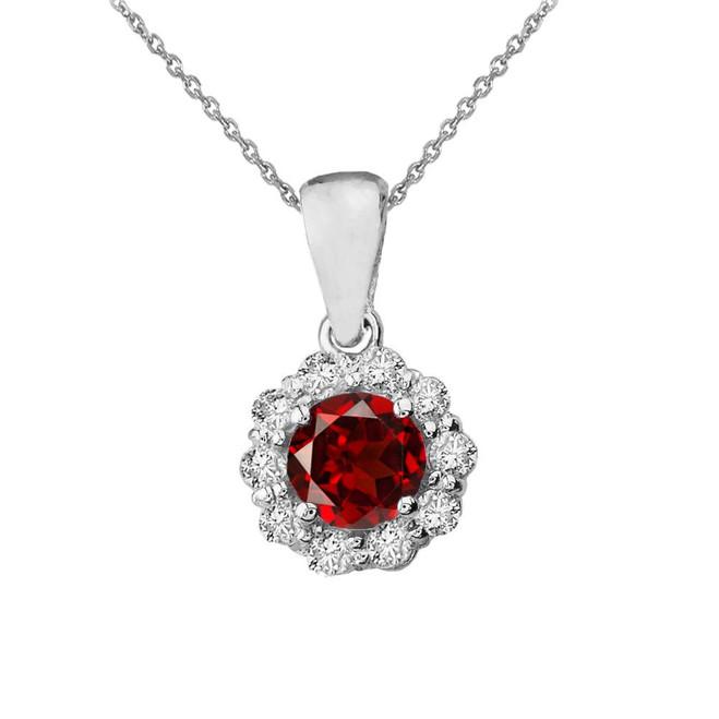 14k White Gold Dainty Floral Diamond Center Stone Garnet Pendant Necklace