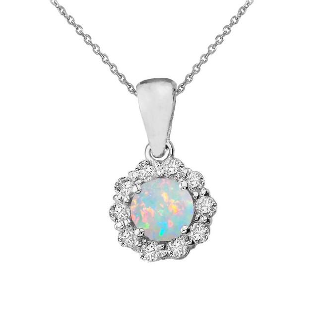 14k White Gold Dainty Floral Diamond Center Stone Opal Pendant Necklace