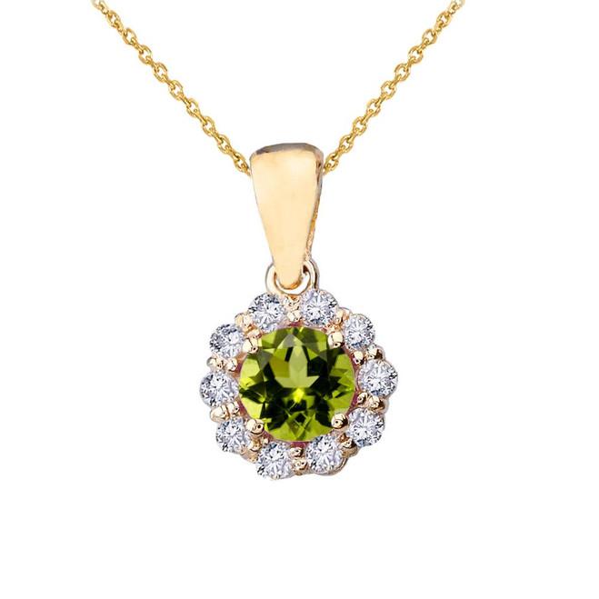 14k Yellow Gold Dainty Floral Diamond Center Stone Peridot Pendant Necklace
