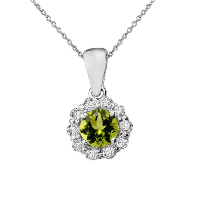 14k White Gold Dainty Floral Diamond Center Stone Peridot Pendant Necklace
