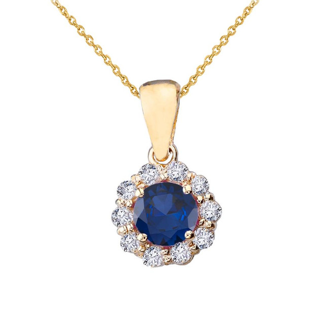 14k Yellow Gold Dainty Floral Diamond Center Stone Sapphire Pendant Necklace