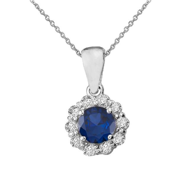 14k White Gold Dainty Floral Diamond Center Stone Sapphire Pendant Necklace