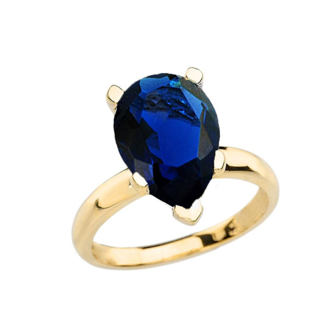 Yellow Gold Pear Shape Sapphire (LCS) Engagement/Proposal Solitaire Ring