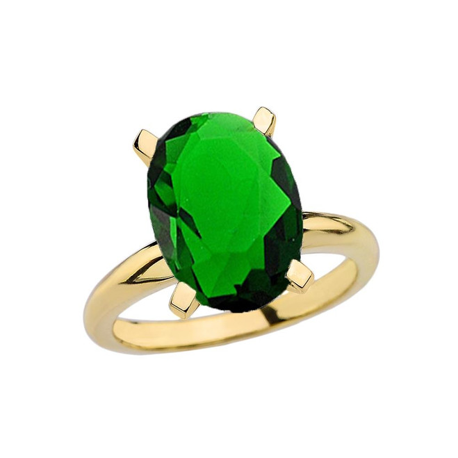 Yellow Gold Oval Shape Emerald (LCE) Engagement/Proposal Solitaire Ring