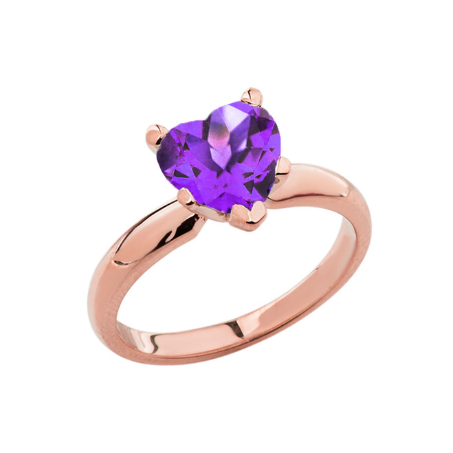 Rose Gold Solitaire Amethyst (LCAM) Heart Engagement Ring