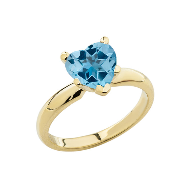 Yellow Gold Solitaire Blue Topaz (LCBT) Heart Engagement Ring